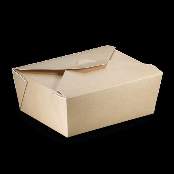 naturesse Take away Box mit PLA-Beschichtung braun/weiß 152x120x65mm 1300ml FSC®