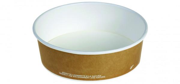 Schale Karton/PLA 800ml, braun/weiss, Ø150x60mm, naturesse
