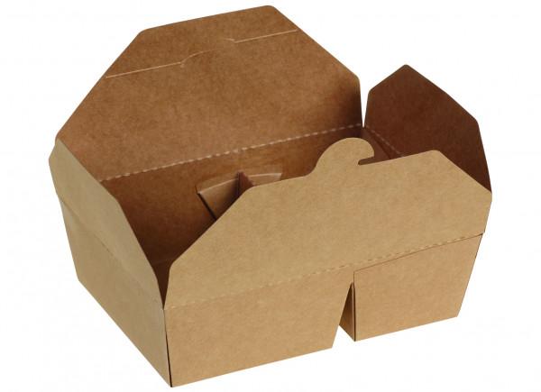 Take-Away-Box zweigeteilt Kraft/PLA, 215/197 x 155/140 x 65 mm, naturesse