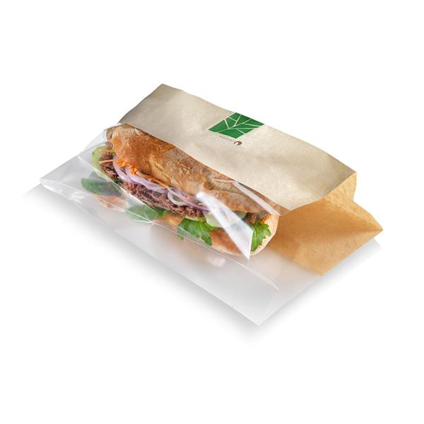 naturesse PaperWise Sandwichbeutel mit PLA-Fenster 33x12x2x3cm