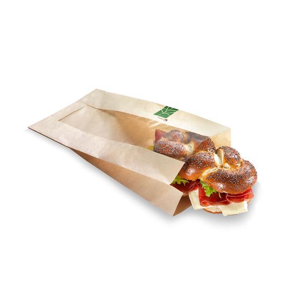 naturesse PaperWise Sandwichbeutel mit PLA-Fenster 27x26x2x3,5cm