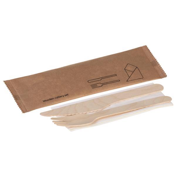 Holz-Besteckset, 3-teilig, Gabel, Messer, Serviette