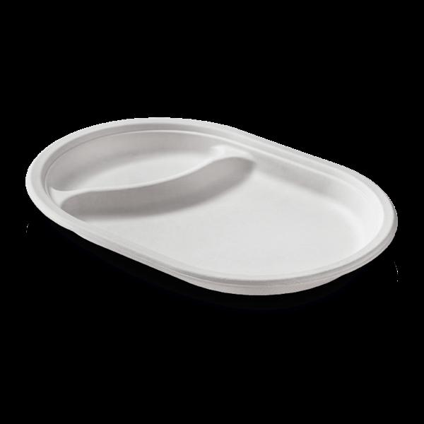 naturesse Zuckerrohr Teller oval 31x21 cm, 2-geteilt