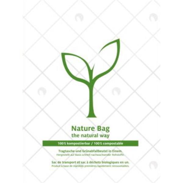 naturesse Knotenbeutel MaterBi 2-farbig 220+120x430/0,016mm / 10 Rollen á 150 Beutel / 15my