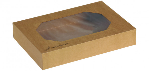 """Transport Box Kraft """"M"""" mit PLA-Sichtfenster 46 x 32 x 8 cm"""