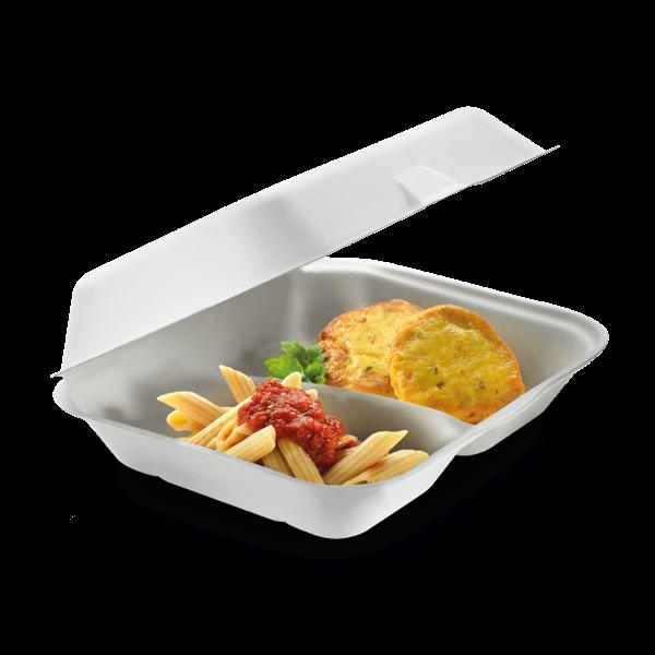 naturesse Zuckerrohr Food Box mit Klappdeckel 2-geteilt 23,5x19,5cm, 7,5cm tief, ca. 400+300ml