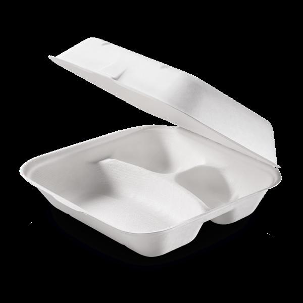 naturesse Zuckerrohr Food Box mit Klappdeckel 3-geteilt 23,5x19,5cm, 7,5cm tief, ca. 350+2x120ml