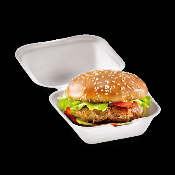 naturesse Zuckerrohr Burger Box mit Klappdeckel klein 12,0x12,0cm, 6,8cm tief