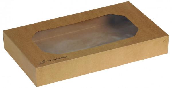 """Transport Box Kraft """"L"""" mit PLA-Sichtfenster 56 x 32 x 8 cm"""