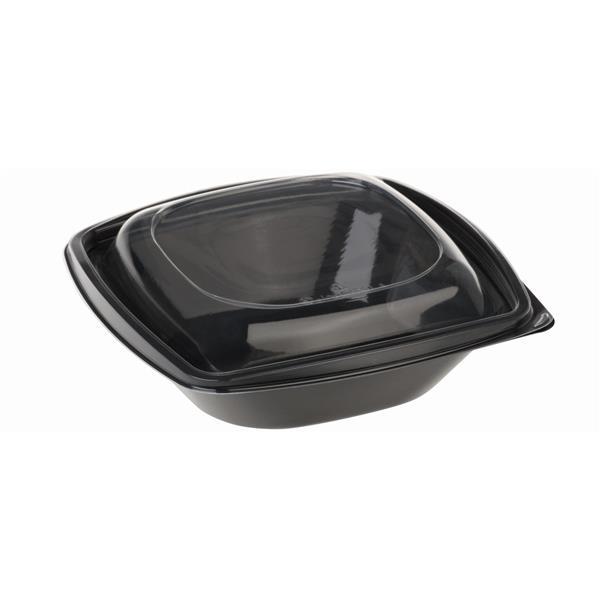 naturesse PLA Salatschale schwarz 360ml, mit Deckel 12,6x12,6cm, 7,2cm tief
