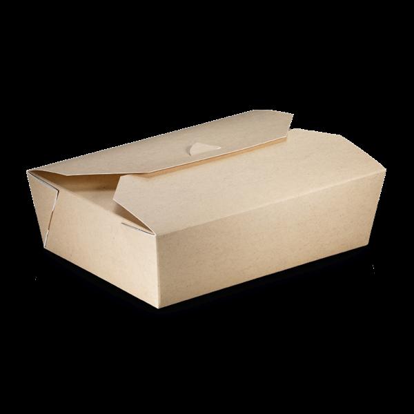 naturesse Take away Box mit PLA-Beschichtung braun/weiß 200x140x65mm 2000ml FSC®