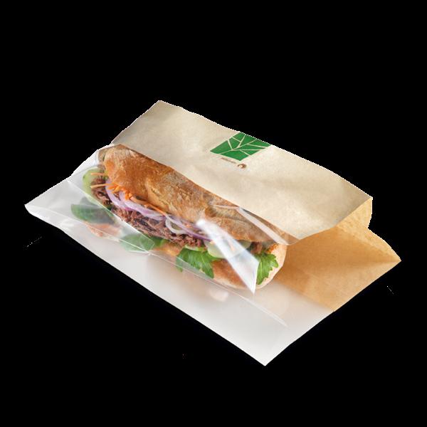 naturesse PaperWise Sandwichbeutel mit PLA-Fenster 28x10x2x3cm