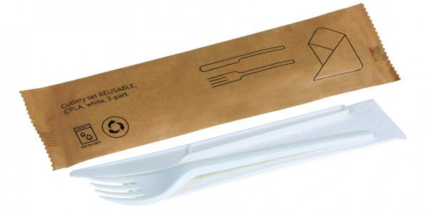 Besteckset REUSABLE CPLA, weiß, 3-teilig: Messer, Gabel, Serviette