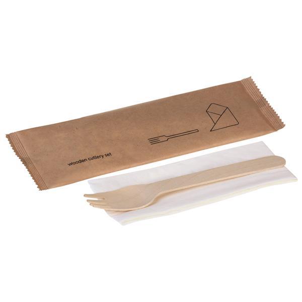 naturesse Holz-Besteckset, 2-teilig, Gabel, Serviette