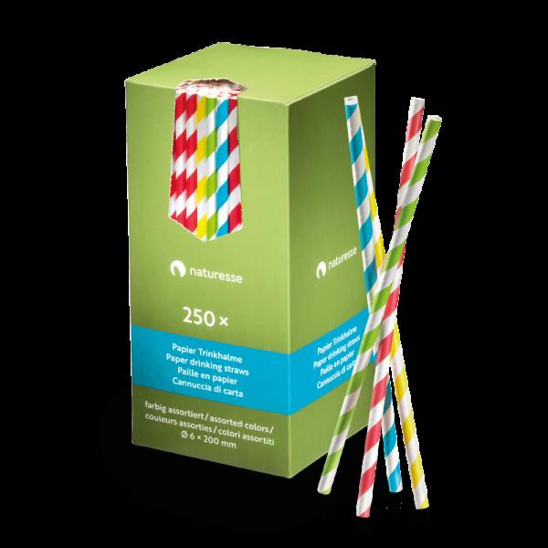 Papier Trinkhalm 6x200mm, farbig assortiert, naturesse