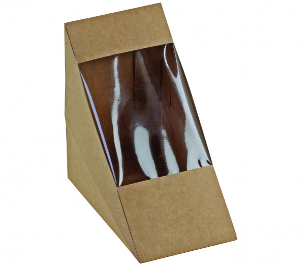 naturesse Sandwich-Verpackung Kraft/PLA m. Fenster 125x72mm