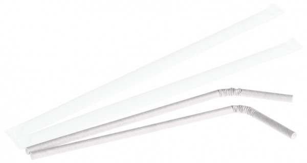 Trinkhalm Papier Ø 6 x 240 mm, weiß, mit Knick, gehülst